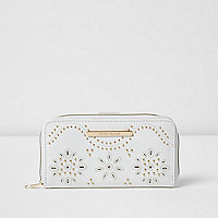 Girls white studded laser cut zip purse