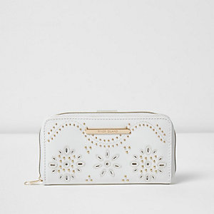 Girls white studded laser cut zip purse