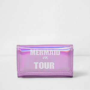Girls pink 'Mermaid On Tour' metallic purse