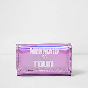 Roze metallic portemonnee met 'Mermaid on Tour'-print voor meisjes