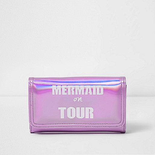 Girls pink 'Mermaid On Tour' metallic purse