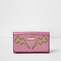 Girls pink glitter lightning bolt large purse