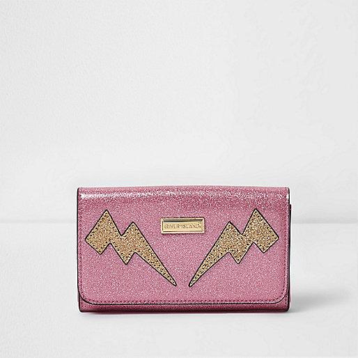 Girls pink glitter lightning bolt large purse