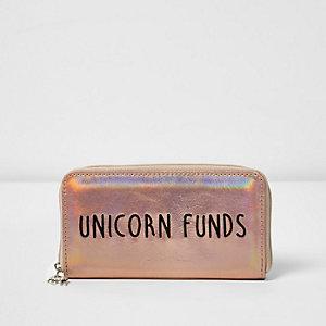 Girls gold 'Unicorn Funds' metallic purse