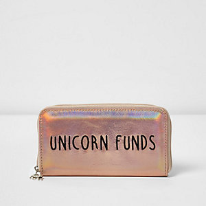 Girls gold 'Unicorn Funds' metallic purse