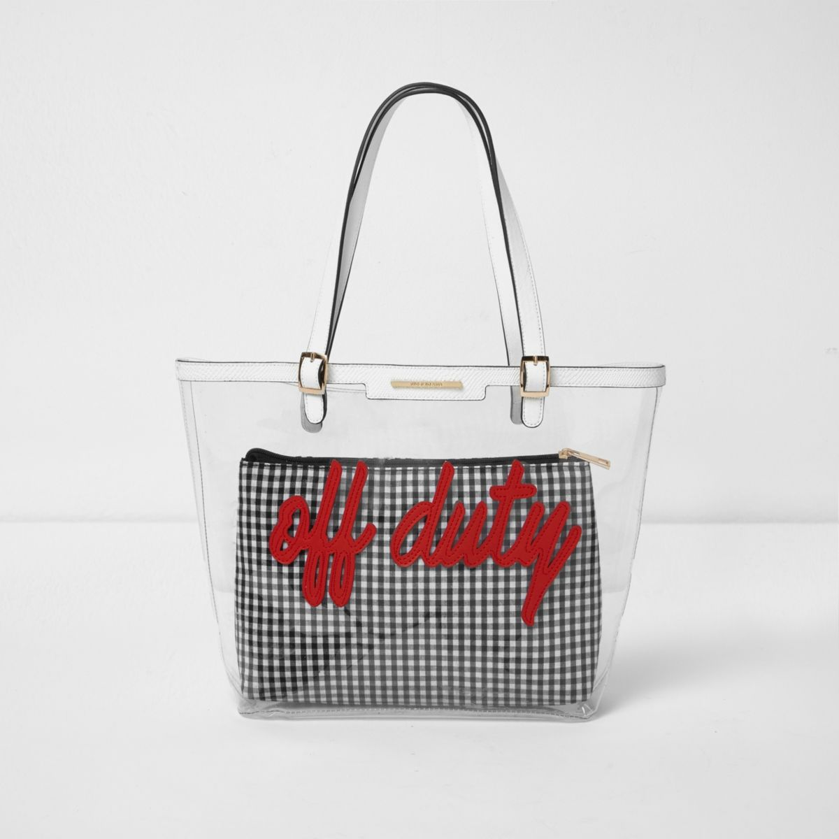 Girls transparent red 'Off Duty' tote bag