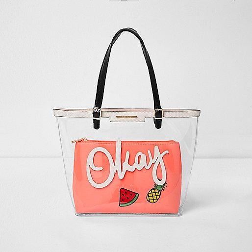 Girls transparent pink 'Okay' tote bag
