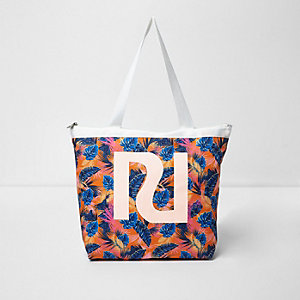 Girls orange RI tropical leaf print tote bag