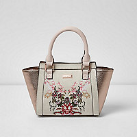 Girls cream floral winged tote bag