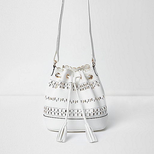 Girls white laser cut cross body bag