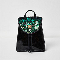 Girls black sequin drawstring backpack