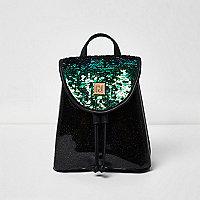 Girls black sequin drawstring backpack