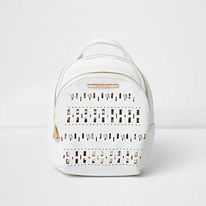 Girls white laser cut backpack
