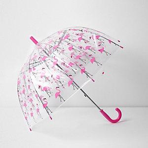 Pinker Regenschirm mit Flamingomotiv