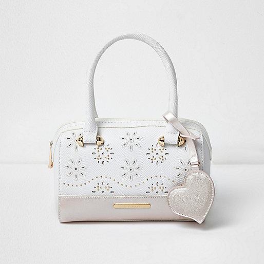 Girls white laser cut faux pearl bowler bag