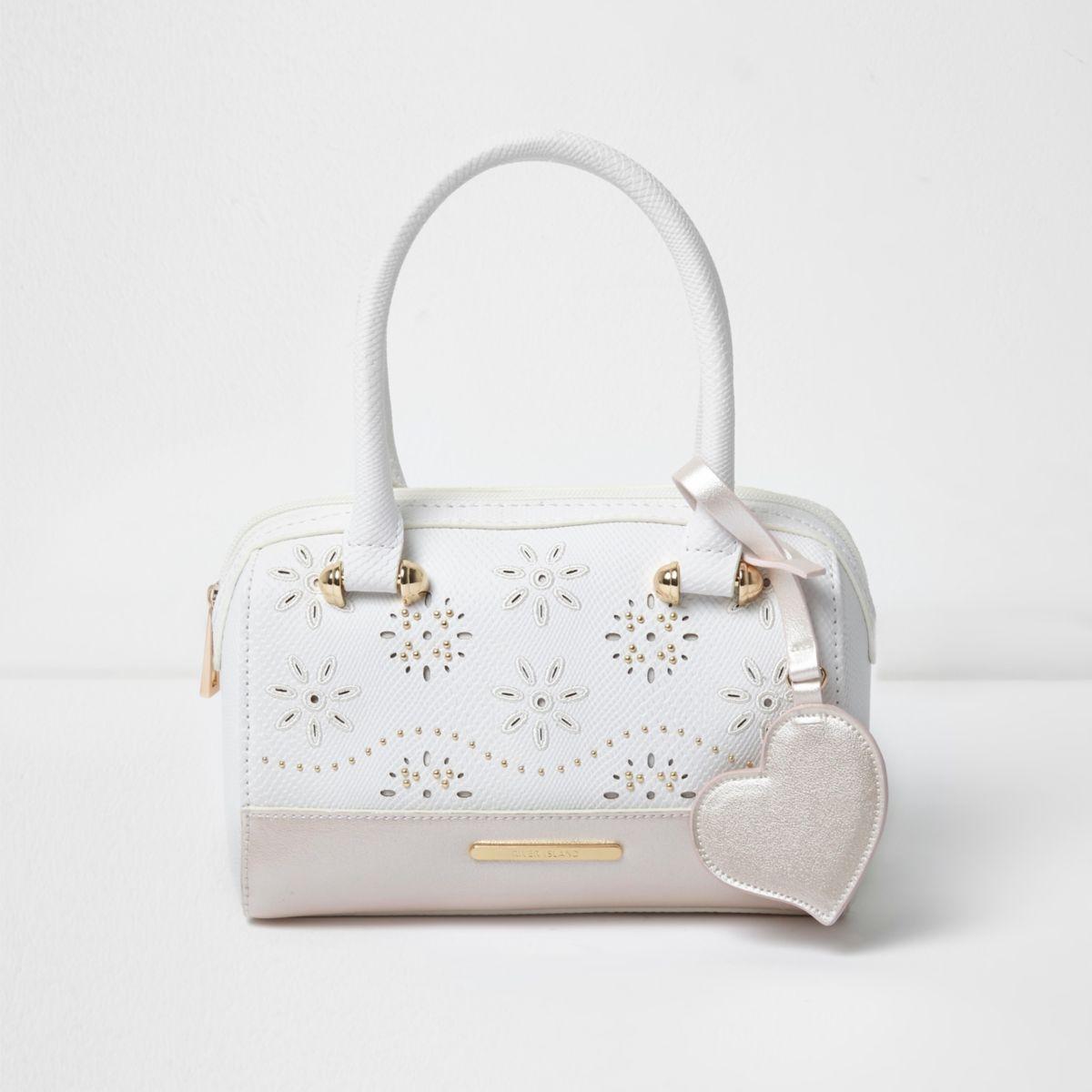 Wei e tasche mit perlen und laserschnittmuster taschen for Weisse tische
