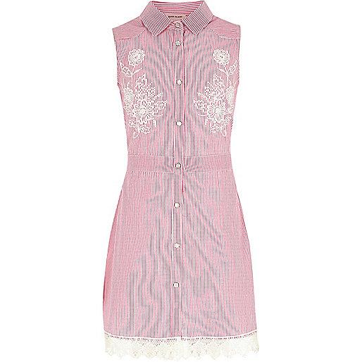 Girls pink stripe embroidered tea dress