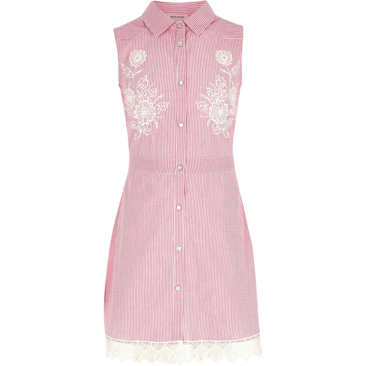 Girls pink stripe embroidered tea dress