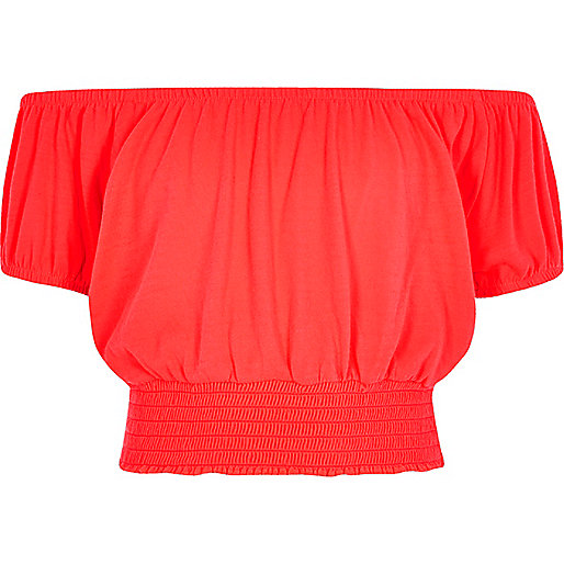 Girls coral bardot crop top