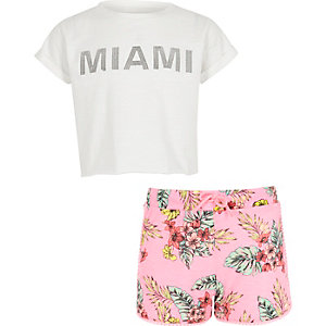 Girls white 'Miami' T-shirt and shorts outfit
