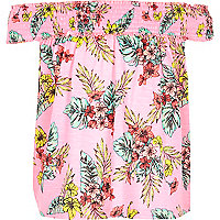Girls pink tropical print bardot swing top