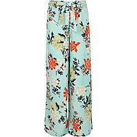 Girls blue tie waist floral palazzo pants