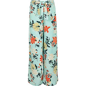 Girls blue tie waist floral palazzo trousers