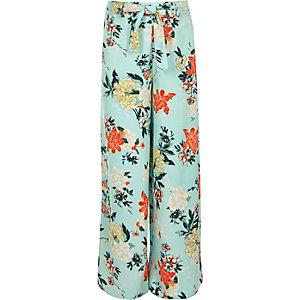 Pantalon palazzo à fleurs bleu avec cordon à la taille pour fille