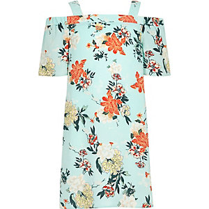 Girls light green floral cold shoulder dress