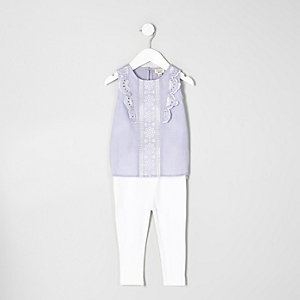 Mini girls stripe frill top and leggings set