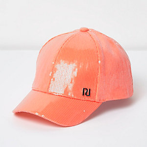 Girls coral sequin cap