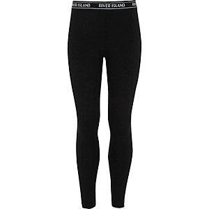 Girls black contrast waistband leggings