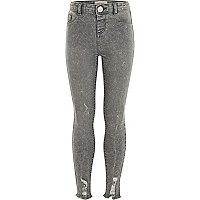 Girls grey acid wash Molly skinny jeggings