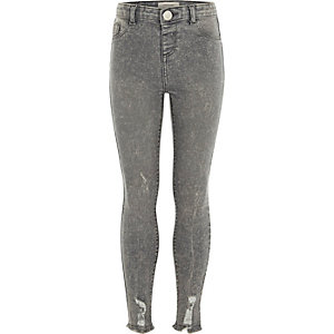 Molly – Graue Skinny-Jeggings in Acid-Waschung