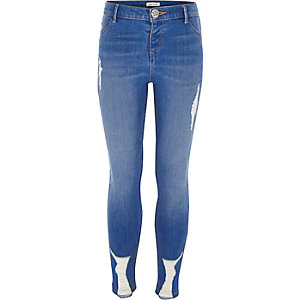Molly – Blaue Skinny Jeggings im Used-Look