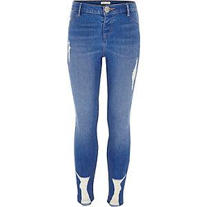 Molly - Blauwe ripped skinny jeans voor meisjes