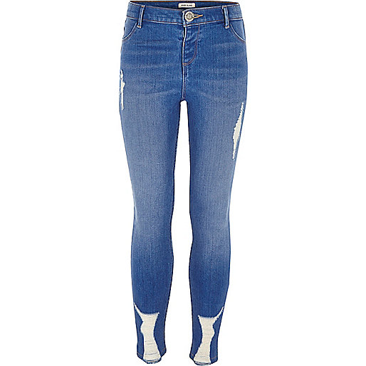 Girls blue ripped skinny Molly jeggings