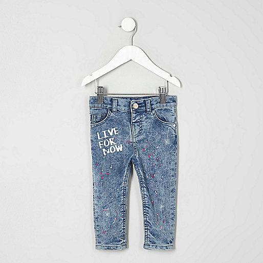 Mini girls blue paint Amelie skinny jeans