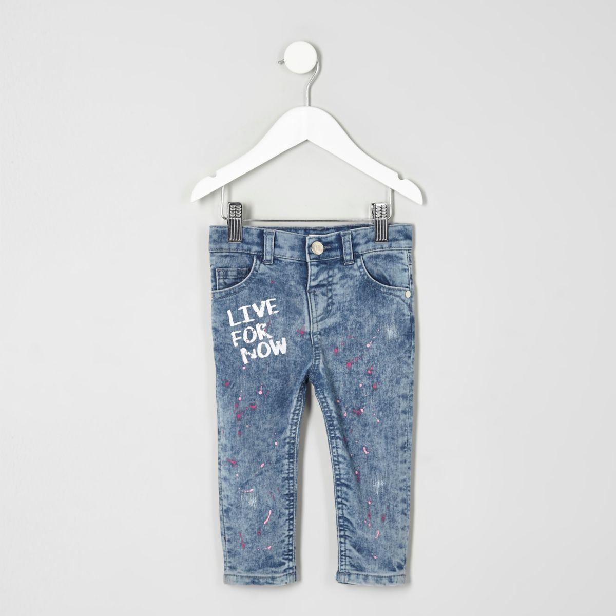 Amelie – Jean skinny bleu taches de peinture mini fille