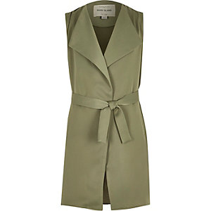 Girls green sleeveless duster jacket