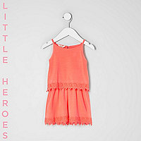 Mini girls coral orange crochet hem romper
