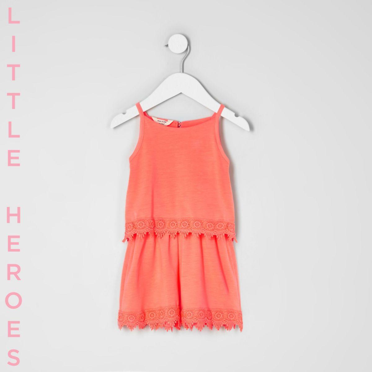 Mini girls coral orange crochet hem romper
