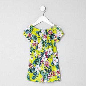 Mini - Gele playsuit in bardotstijl met tropische print voor meisjes