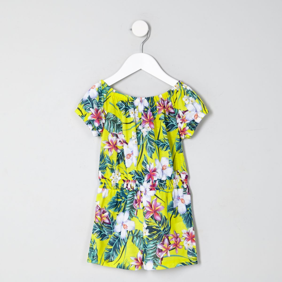 Mini girls yellow bardot tropical playsuit