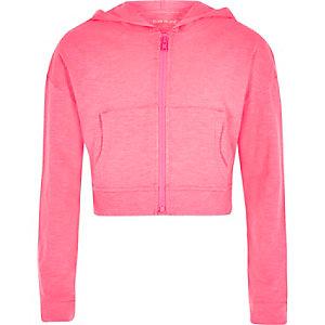Sweat à capuche rose fluo zippé pour fille