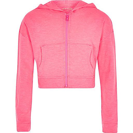 Girls pink fluro zip front hoodie