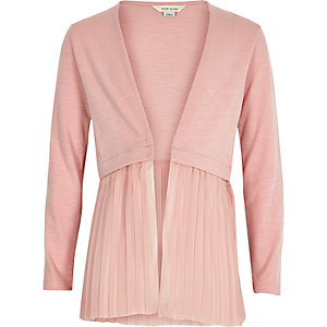 Girls pink pleated hem knit cardigan