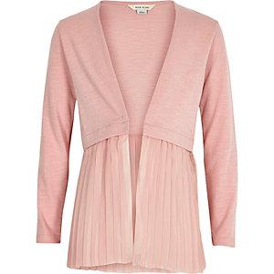 Cardigan en maille rose avec ourlet plissé pour fille