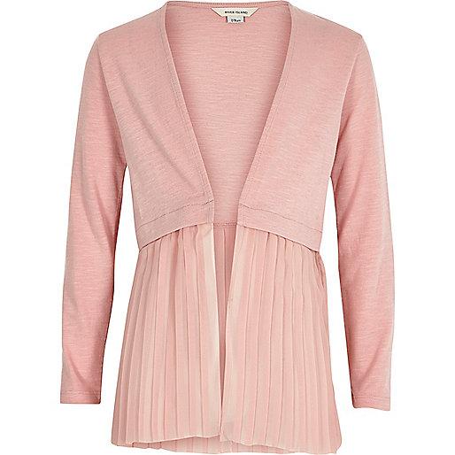 Girls pink pleated hem knit cardigan