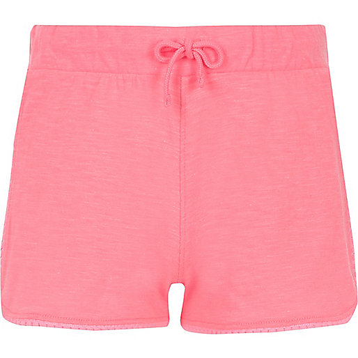 Girls pink fluro lace trim shorts